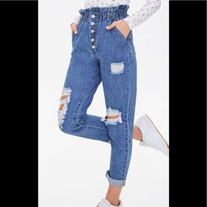 Forever 21 Paperbag High Rise Distressed Jeans M